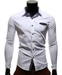 Re-Verse Hemd mit Ellenbogenpatches in Wildlederoptik - Weiß - S