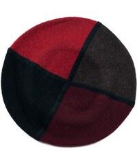 Art of Polo Červený čtyřbarevný vlněný baret