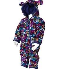 Bugga Dívčí fleecový overal s kytičkami - barevný