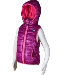 Bugga Dívčí prošívaná vesta s odepínací kapucí - růžová