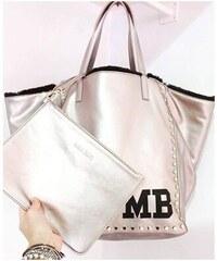 Oboustranní taška Mia Bag- eko kůže/kožíšek, Barva stříbrná