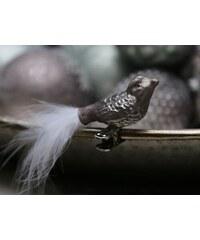Chic Antique Skleněný ptáček na skřipci Antique mocca