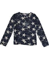 Topo Dívčí úpletové tričko s hvězdičkami - modro-béžové