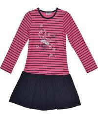 Topo Dívčí proužkované šaty se skládanou sukní - růžovo-černé