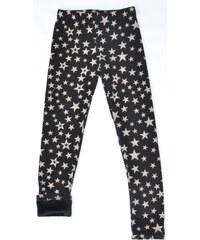 Topo Dívčí zateplené legíny s hvězdičkami - černo-bílé