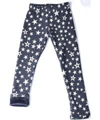 Topo Dívčí zateplené legíny s hvězdičkami - modro-bílé