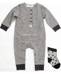 Minoti Chlapecký proužkovaný overal Bear 11 s ponožkami - šedo-bílý