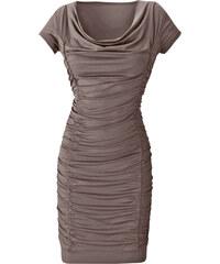 BODYFLIRT Kleid mit Raffung/Sommerkleid kurzer Arm in grau von bonprix