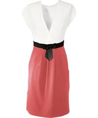 BODYFLIRT Shirtkleid/Sommerkleid kurzer Arm in weiß (V-Ausschnitt) von bonprix