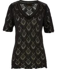 bpc selection Ajour-Pullover kurzer Arm in schwarz für Damen von bonprix