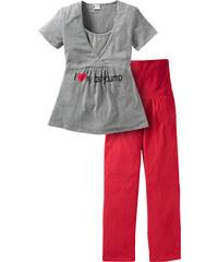 bpc bonprix collection Schwangerschafts-Pyjama (2-tlg. Set) kurzer Arm in grau für Damen von bonprix