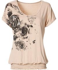 BODYFLIRT Shirt kurzer Arm in beige für Damen von bonprix