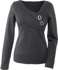 BODYFLIRT Pullover langarm in grau (V-Ausschnitt) für Damen von bonprix
