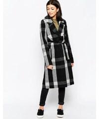 Ichi - Karierter Mantel mit Gürtel - Schwarz