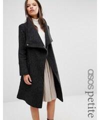 ASOS PETITE - Manteau en laine mélangée à col cheminée - Noir