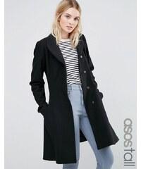 ASOS TALL - Manteau coupe patineuse en laine mélangée avec col cheminée - Noir
