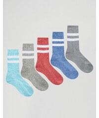 ASOS - Lot de 5 paires de chaussettes de sport en fil torsadé - Multi