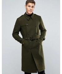 ASOS - Zweireihiger Mantel aus Wollmischung mit Gürtel in Khaki - Grün