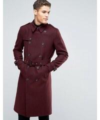 ASOS - Doppelreihiger Mantel aus Wollmischung mit Gürtel in Burgunderrot - Rot
