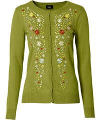 bpc bonprix collection Trachten-Strickjacke mit Stickerei und langem Arm in grün für Damen von bonprix