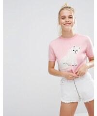 Lazy Oaf - T-shirt en maille avec fini duveteux sur le devant - Rose