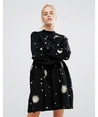 Lazy Oaf - Robe tunique à imprimé lunes et étoiles métallisés - Noir