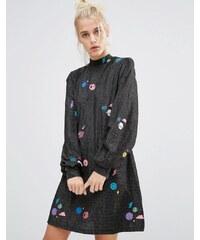 Lazy Oaf - Robe trapèze à encolure montante et motif espace scintillant - Noir