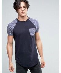 Le Breve - T-shirt long avec poche et manches contrastantes - Fauve