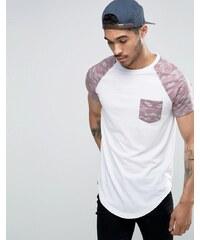 Le Breve - T-shirt long avec poche et manches contrastantes - Rose