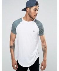Le Breve - T-shirt long à ourlet arrondi et manches contrastées - Vert