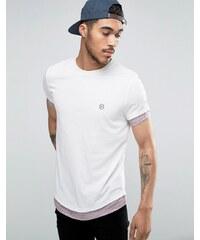 Le Breve - T-shirt long à ourlet arrondi et manches contrastées - Rose