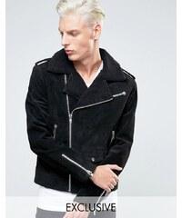 Black Dust - Perfecto en cuir avec col en fausse fourrure - Noir