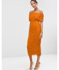 ASOS - Robe fourreau mi-longue style Bardot avec top court en dentelle - Orange
