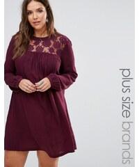 Brave Soul Plus - Robe avec empiècements en dentelle - Violet
