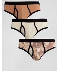 ASOS - Lot de 3 slips motif camouflage - Multi