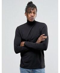 Kubban - Langärmliges T-Shirt mit drapiertem Ausschnitt - Schwarz