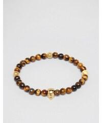 Mister Annum - Armband mit Tigerauge und Goldperlen - Braun
