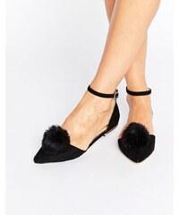 Miss KG - Goldie - Chaussures plates et pointues avec bride de cheville à pompon - Noir