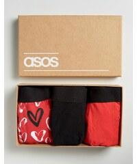 ASOS - Unterhosen mit Herzen in Geschenkverpackung, 3er-Pack, 20% RABATT - Schwarz
