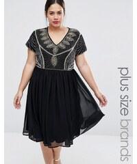 Lovedrobe Plus - Robe patineuse à corsage richement orné - Noir