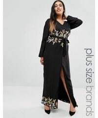 Lovedrobe - Robe longue grande taille avec ornements sur la bordure - Noir