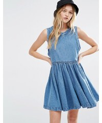 Rollas Rolla's - Gewaschenes Jeanskleid mit tief angesetzter Taille - Blau