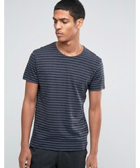 Selected Homme - T-shirt rayé avec bord brut - Bleu