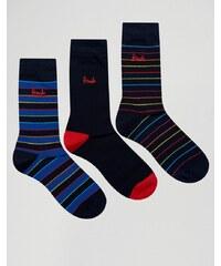 Pringle - 3er-Pack mehrfarbig gestreifte Socken - Marineblau