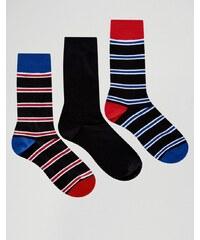 Pringle - Schwarz gestreifte Socken im 3er-Set - Schwarz