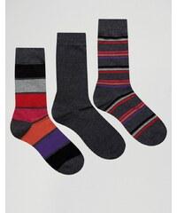 Pringle - 3er-Pack graue Socken mit breiten Streifen - Grau