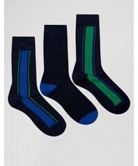Pringle - 3er-Pack marineblaue Socken mit vertikalen Streifen - Marineblau