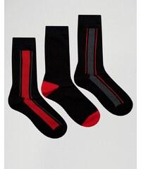 Pringle - 3er-Pack schwarze Socken mit vertikalen Streifen - Schwarz