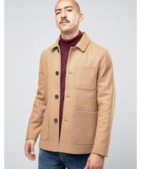 Stanley Adams - Manteau en laine majoritaire avec poches plaquées - Fauve
