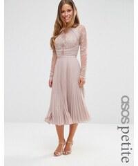 ASOS PETITE WEDDING - Jolie robe mi-longue plissée en dentelle frangée - Beige